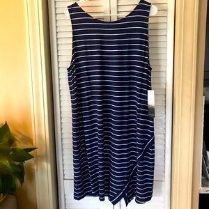 NWT Navy/wht striped tank dress, gold zipper, xxl